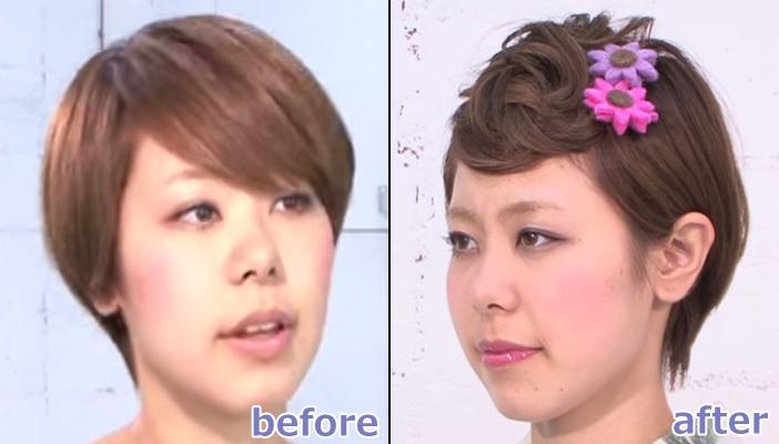 浴衣 髪型 ショート ヘアアレンジ4