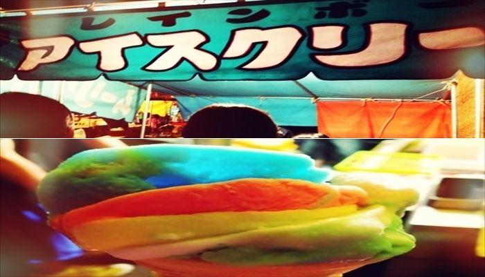 お祭りの屋台 レインボーアイスクリーム