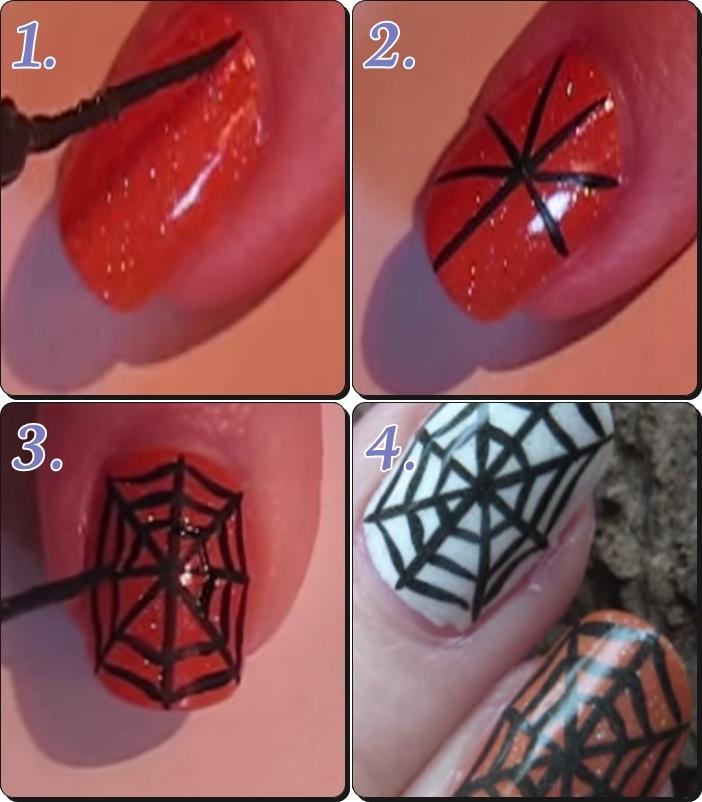 ハロウィンネイル クモの巣2 簡単なやり方
