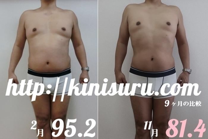 ダイエット9ヶ月目の比較画像 全身前