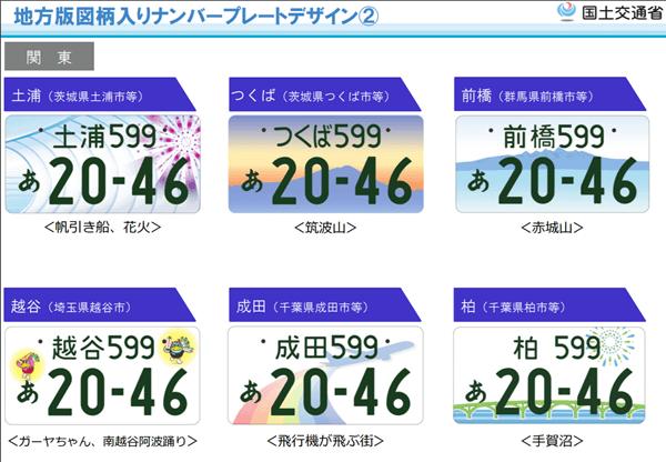 図柄入りナンバープレート【関東地方】