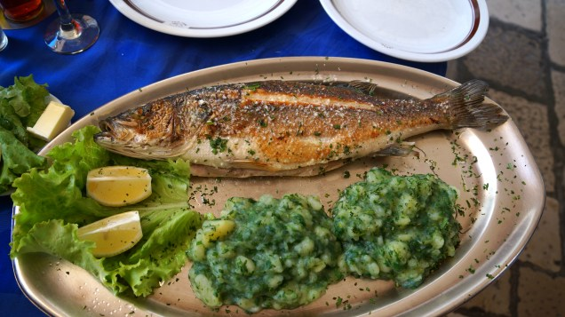 Sea bass with spinach and potatoes - Fabulous!