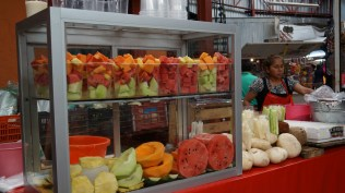 Fresh fruit to go at the fruit and veggie market