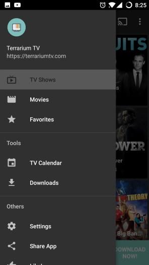 Terrarium TV menu