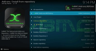 Select Install from Repository > XvBMC (Add-ons) REPOsitory
