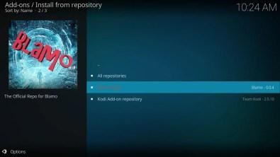Add-ons Install from repository Blamo Repo