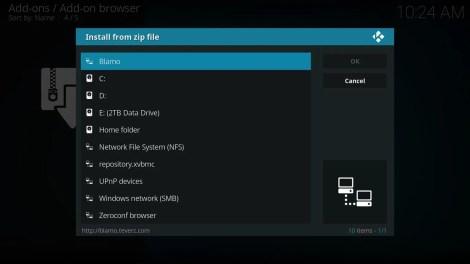 Install from zip file Blamo Source