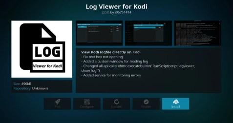 Install Log Viewer for Kodi