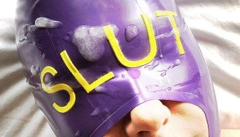 Person wearing purple hood with the word slut written where the eyes should be for post about hoods
