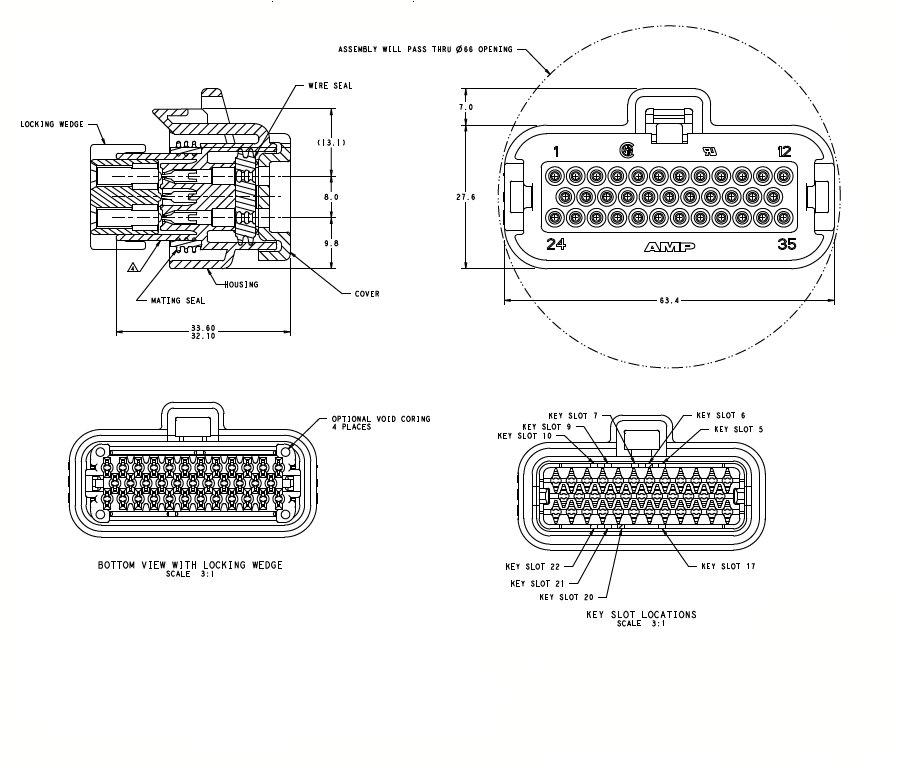 776164-1 35 way Receptacle Contact Housing connector
