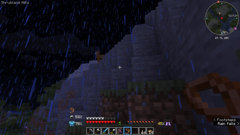 A llama on a hill in the dark rainy night. I'm holding a lead in my hand.