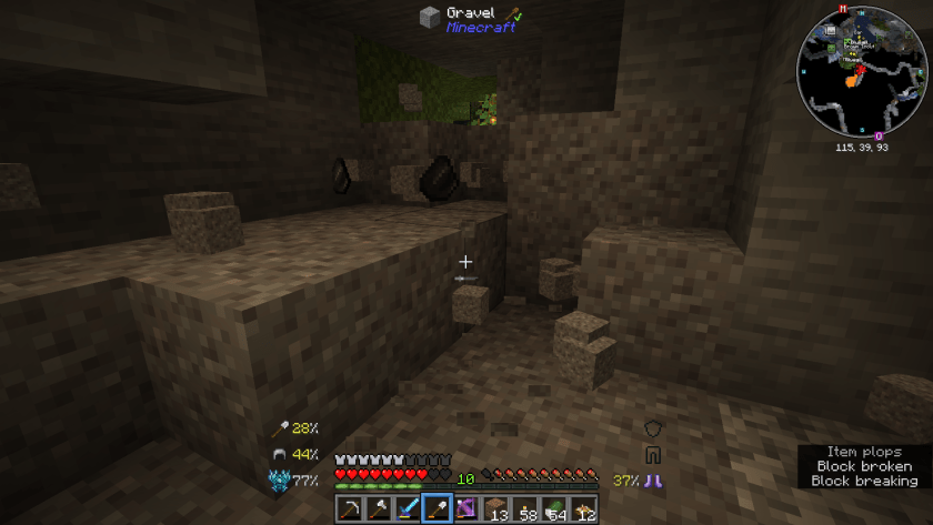 More gravel, this time in a cave. Some blocks are on the ground.
