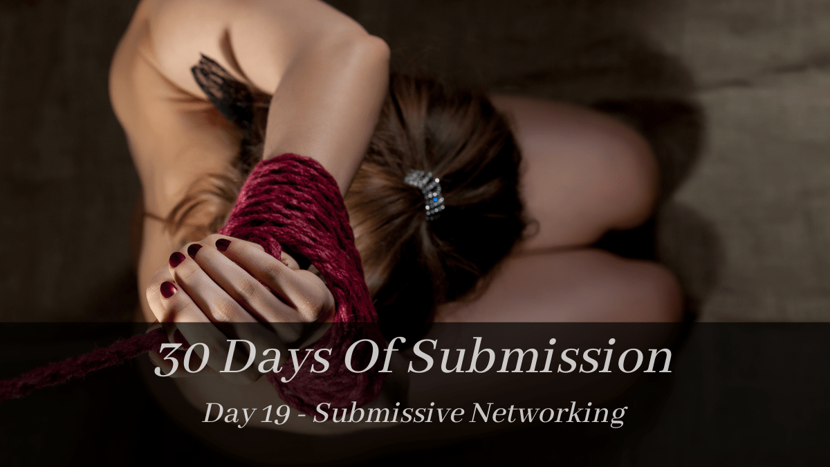 """picture of kneeling lady in red rope. Text reads """"30 days o0f submission day 19 - submissive networking"""