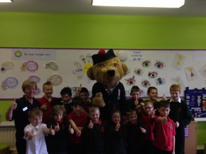 Hero Bear visits Kinloss Primary School after a successful Colossal Bake Sale