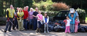 Some of the volunteers with the rubbish collected.