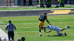 Martin-Manley returns this 1st quarter punt 83 yards and is tripped up by the punter.
