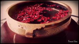 Sometimes at wedding function you see beautiful decorations. The rose petals and the beautiful bowl gave the entrance a very ethnic look.