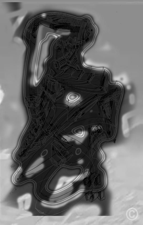 Transgenerational Drawing 002 (black and white, dark) Mixed digital media © Prosper Jerominus, 2017