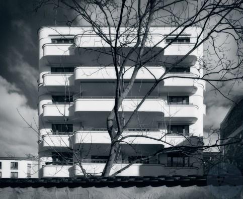 Long white balconies