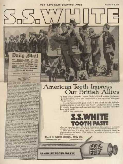 Reklama pasty dozębów S.S White, naktórejwidnieją amerykańscy żołnierze