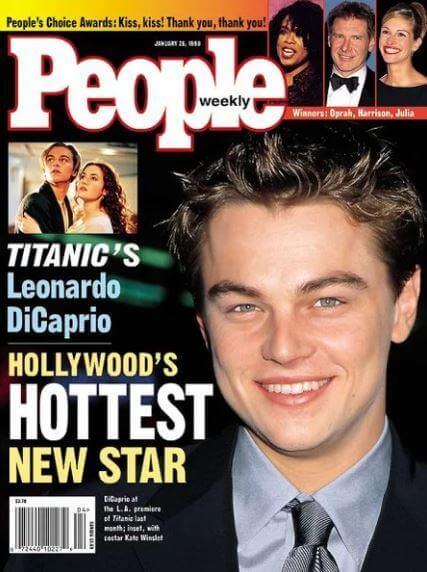 Młody Leonardo DiCaprio naokładce magazynu People. Promowanie gwiazd był wlatach 90 dużym elementem marketingu filmowego.