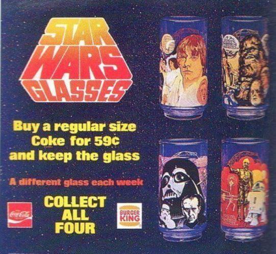 """Pierwsze kolekcjonerskie szklanki zmotywem """"Star Wars"""". Merchandising jako element marketingu filmowego."""