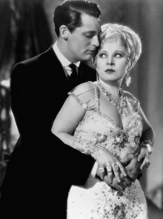 """Cary Grant iMae West naplanie filmu """"Niejestem aniołem""""."""