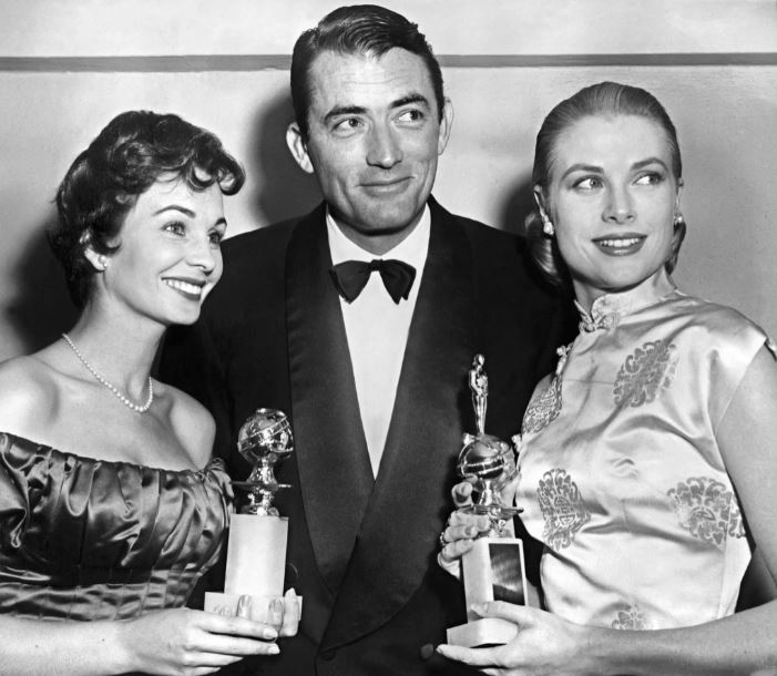 Jean Simmons, Gregory Peck iGrace Kelly narozdaniu Złotych Globów w1953