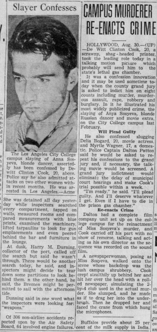 DeWitt Cook – wycinek prasowy (1939)