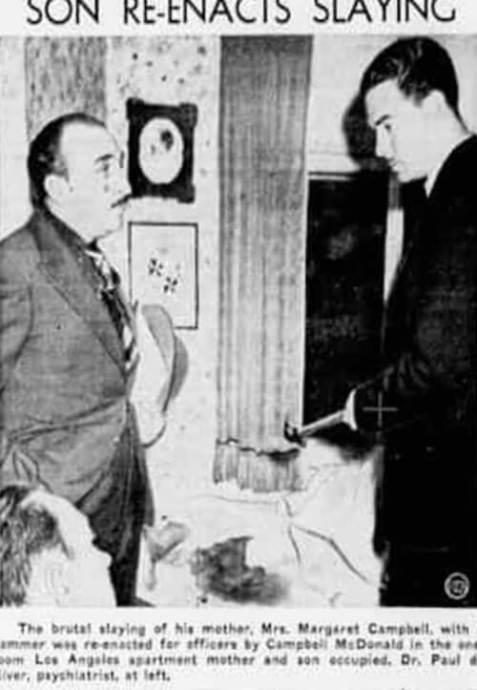 Campbell Macdonald iJ.P. de River podczas przesłuchania namiejscu zbrodni