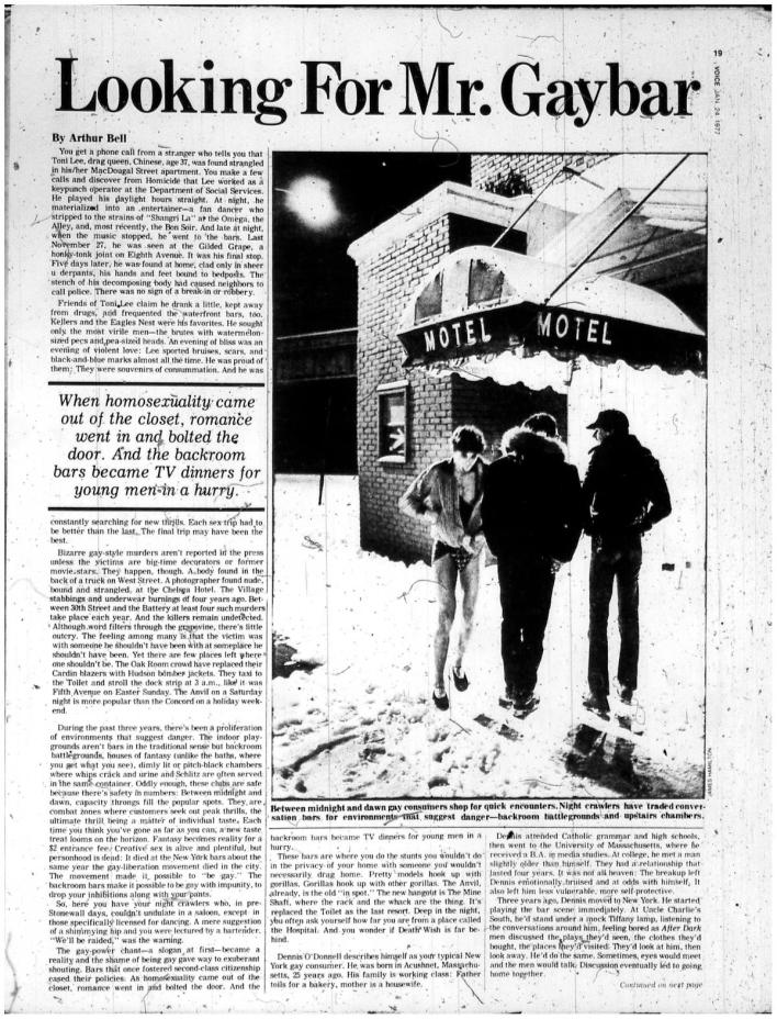 Pierwszy artykuł Arthura Bella dla The Village Voice