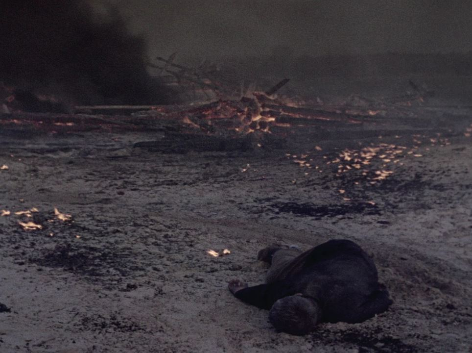 a still from Come and See, a field after a battle, wounded person on the foreground