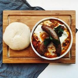 Shakshuka with merguez sausages