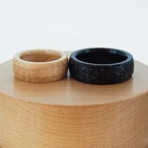 結婚指輪 木製 麻の葉