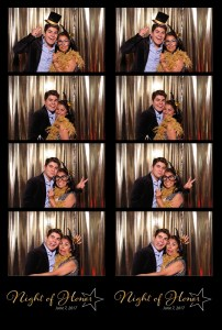 photo booth print, 4 photos and logo from photo booth print, group with props in photo booth, gold background photo booth, mother and some at awards dinner in photo booth