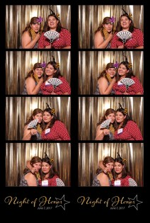 photo booth print, 4 photos and logo from photo booth print, group with props in photo booth, gold background photo booth, girls having fin in photo booth, girls in bright outfits, corporate even photo booth, photo booth at party