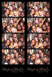 photo booth print, 4 photos and logo from photo booth print, group with props in photo booth, gold background photo booth, big group at holiday party, Christmas party Photo Booth