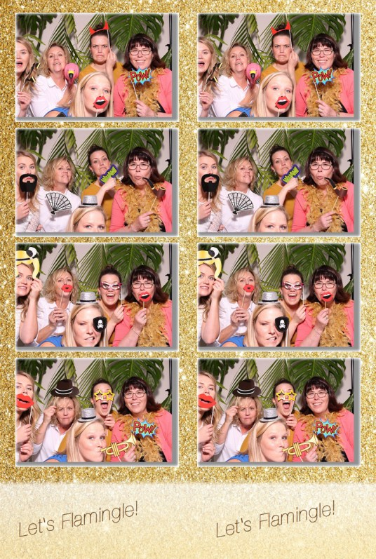 photo booth print, 4 photos and logo from photo booth print, group with props in photo booth, gold background photo booth, group at bridal shower in Photo Booth, island props for photo booth, let's flamingly photo booth print