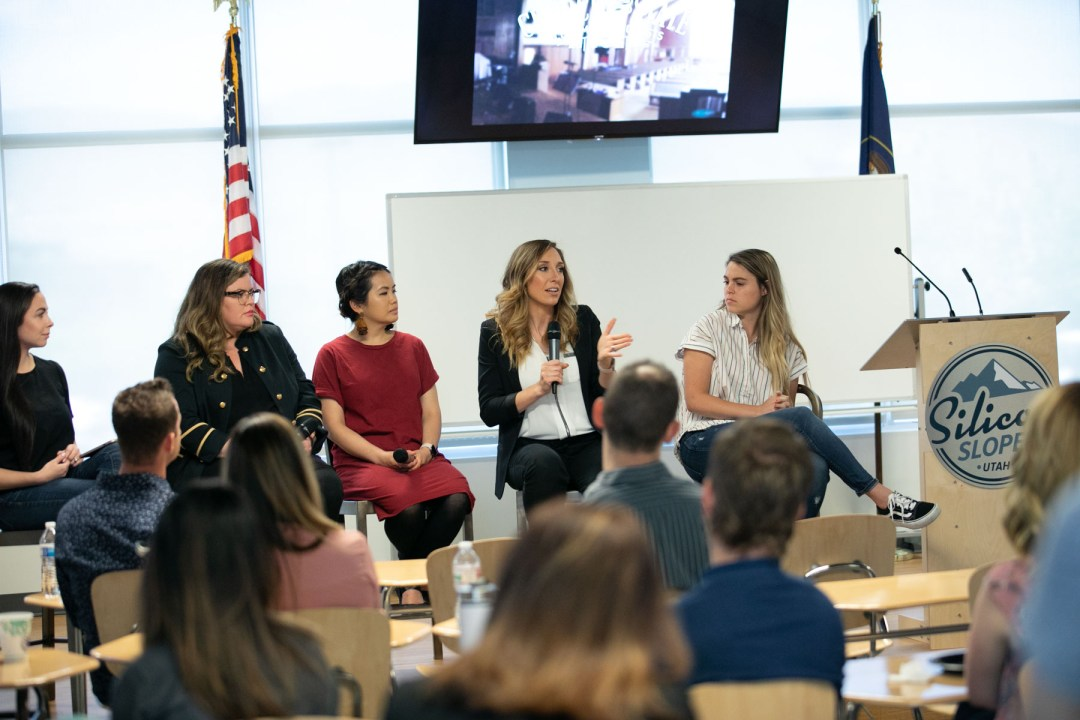 male audience member at Silicon slopes networking event, panel discussion, empowering women, Silicon slopes Founders Chapter: Empowering Female Founders, event photographer Kinser studios