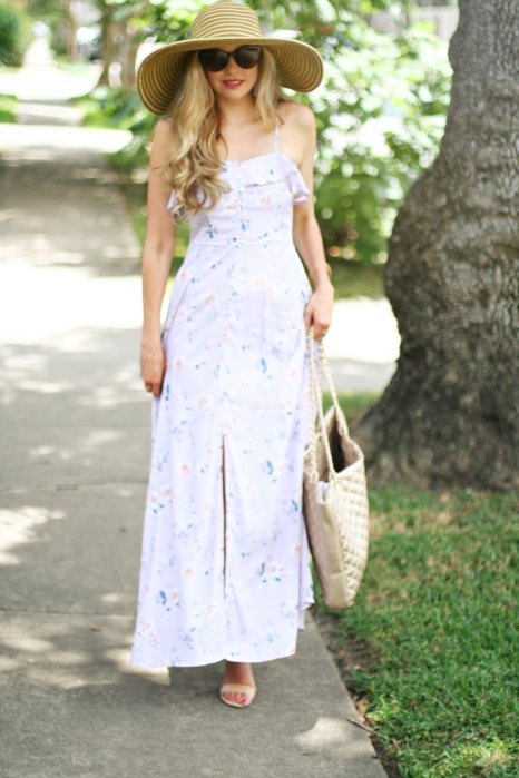 lilac maxi dress under $30 spring and simmer maxi dress