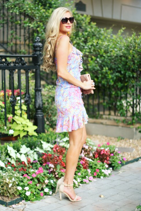 spring summer mini ruffle lilac dress