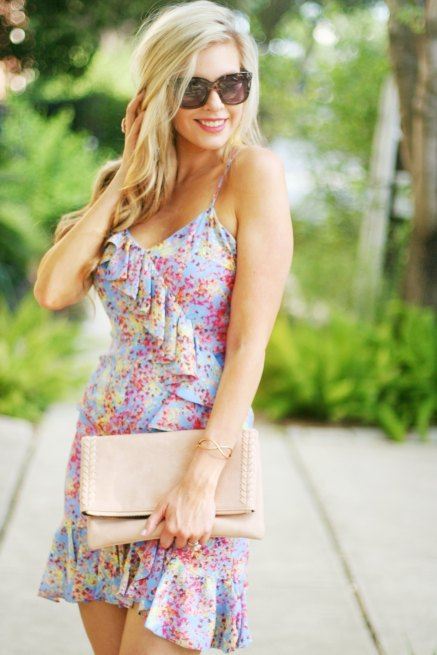 lilac ruffle spring summer party mini dress