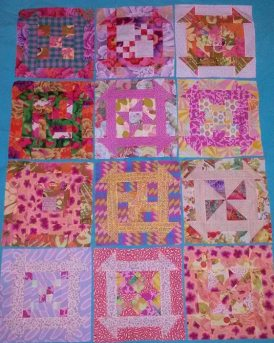 12 Intermediate Blocks from Kinship Quilters Year 1 Mystery BOM, as sewn by Eleni Sarantoglou of Greece in Pink Colorway