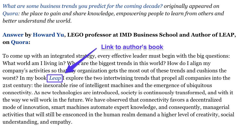 """respuesta dada por el autor Howard Yu a la pregunta de, """"¿Cuáles son algunas tendencias de negocios que ustedes predicen que ocurrirán en la próxima década?"""""""
