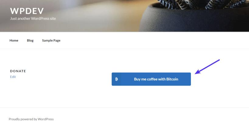 Donate Bitcoins button