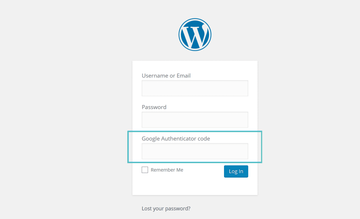 inicio de sesión de WordPress de Google authenticator