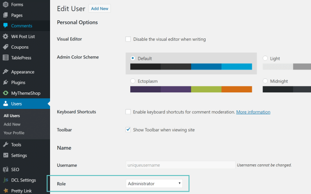 add new admin user