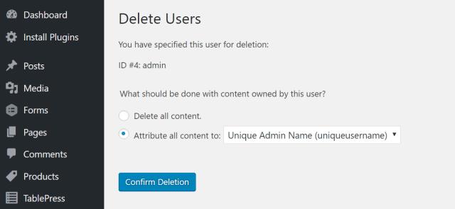 delete admin attribute all content to