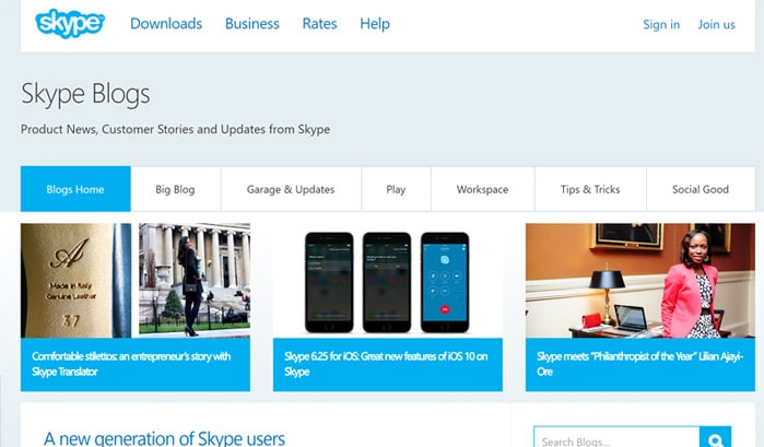 skype blog wordpress sites