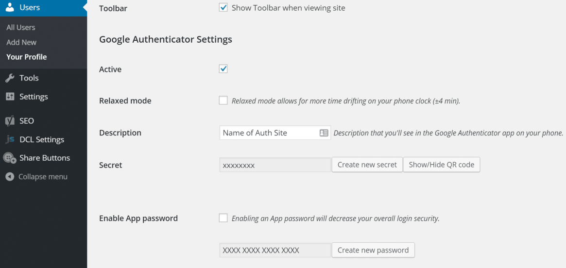 Configuración de autenticación wordpress de dos factores